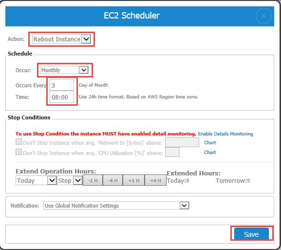 EC2 Monthly Scheduler