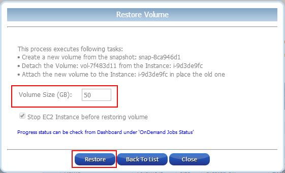 Restore EBS Volume